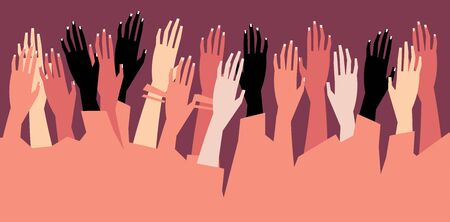 Human hands with different skin color stacked for support. Group, unity, race equality, tolerance concept art in minimal flat style. Vector illustration card.