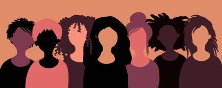 Group of happy smiling women of different race together. Flat style vector illustration. Feminism diversity tolerance girl power concept.