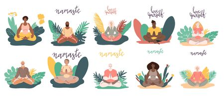Diverse people women and men doing meditation outdoors surrounded by plants. Minimal vector illustration set isolated on white.