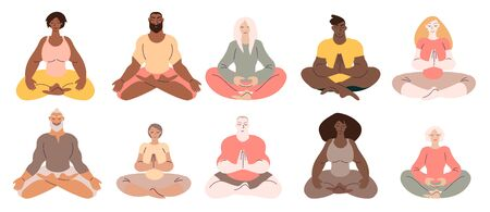 Diverse people women and men doing meditation. Minimal vector illustration set isolated on white.
