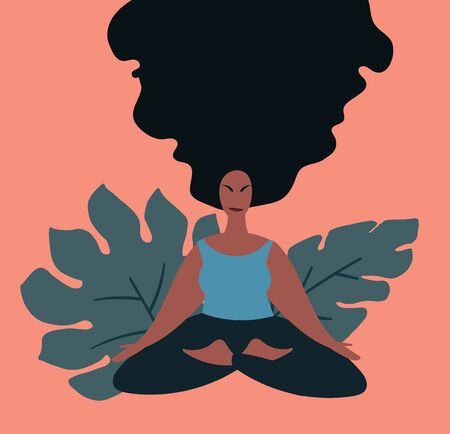 Woman doing meditation in lotus pose surrounded by plants. Minimal vector illustration.