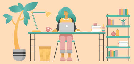 Female freelancer working at home office