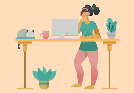 Freelancer workign at home office at standing desk. Flat style cartoon faceless character. Lifestyle, self isolation, pandemic concept. Minimal vector illustration.