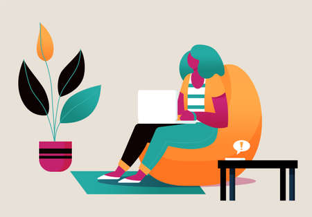 Female freelancer working at home office, Flat style cartoon faceless character. Lifestyle, self isolation, pandemic concept. Minimal vector illustration.