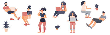 People working with laptop, Flat style cartoon faceless character. Lifestyle, self isolation, pandemic concept. Minimal vector illustration set.
