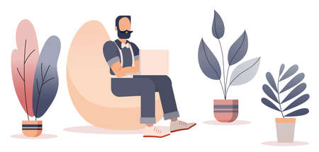 People working at home office, Flat style cartoon faceless character. Lifestyle, self isolation, freelance, pandemic concept. Minimal vector illustration set.