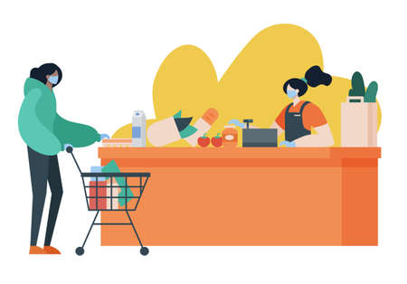 Person doing grocery shopping while wearing face mask and gloves for protection. Covid, social distance, lifestyle, pandemic concept. Cartoon faceless character. Flat vector illustration. Illustration