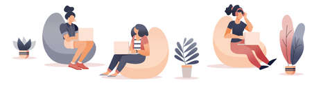 Freelancer working at coworking office. Flat style cartoon faceless character. Lifestyle, creativity concept. Minimal vector illustration.