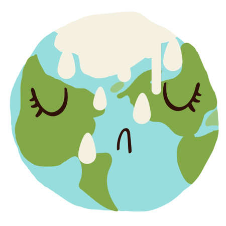 Sad cute planet earth crying with ice melting down. Global warming climate change concept vector illustration isolated on white.