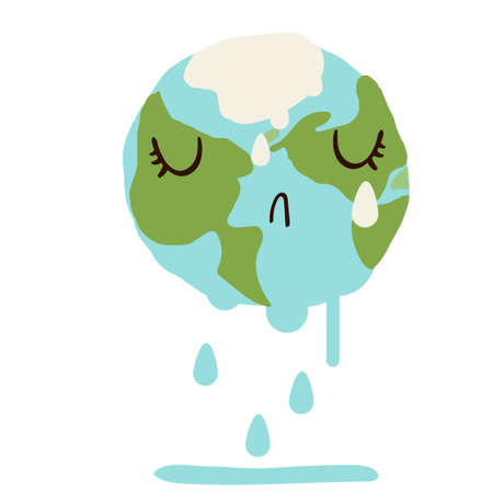 Sad cute planet earth melting down and crying. Global warming climate change concept vector illustration isolated on white. 矢量图像