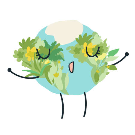Happy cute planet earth breathing deeply with a lot of green forests. Global warming climate change concept vector illustration isolated on white. 矢量图像