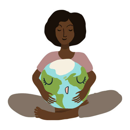 Happy cute planet earth being hug by woman. Global warming climate change concept vector illustration isolated on white. 矢量图像