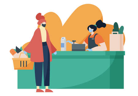 Person doing grocery shopping while wearing face mask and gloves for protection. Covid, social distance, lifestyle, pandemic concept. Cartoon faceless character. Flat vector illustration. 矢量图像