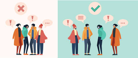 Group of people talking while keeping social distance to prevent covid19 transmission. Flat design illustration. 矢量图像