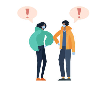 Two people greeting each other while keeping social distance to prevent covid19 transmission. Flat design illustration.