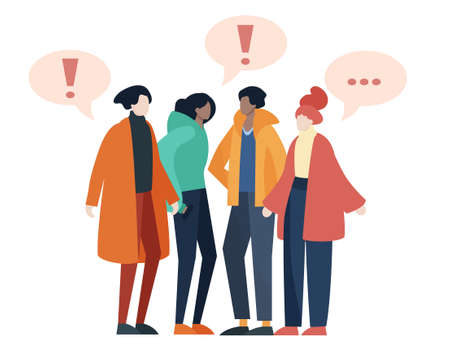 Group of young people in urban clothes talking. Flat design illustration isolated on white. 矢量图像