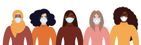 Group of women of diverse race weating face masks for pandemic protection from covid19. Flat design vector illustration. 矢量图像