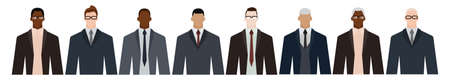 Group of diverse businessmen of adult and senior age, of different race, in office style clothes. Flat design vector illustration.