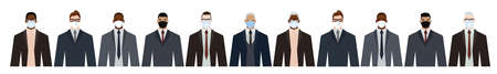 Group of diverse businessman men of adult and senior age, of different race, in office style clothes, wearing masks for pandemic protection from covid19. Flat design vector illustration. 矢量图像