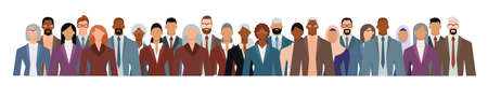 Crowd of businesspeople of diverse age and ethnicity in formal suits. Flat design vector illustration.