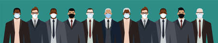 Group of diverse businessman men of adult and senior age, of different race, in office style clothes, wearing masks for pandemic protection from covid19. Flat design vector illustration. Illustration