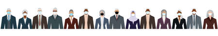Crowd of businesspeople of senior age and ethnicity in formal suits. Flat design vector illustration.