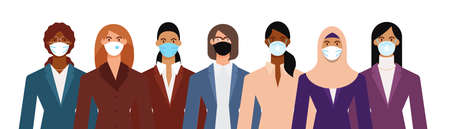 Crowd of diverse business woman wearing face mask to protect themselves from the epidemic. Flat design vector illustration. Illustration