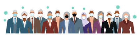 Crowd of diverse senior age business people wearing face mask to protect themselves from the epidemic. Flat design vector illustration. Illustration