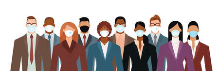 Crowd of diverse business people wearing face mask to protect themselves from the epidemic. Flat design vector illustration.