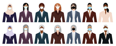 Set of diverse business woman icons wearing face mask to protect themselves from the epidemic. Flat design vector illustration.