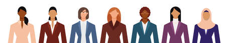 Crowd of diverse business woman in formal suits isolated on white. Flat design vector illustration.