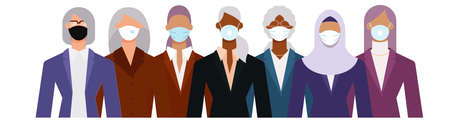 Crowd of diverse senior age business woman wearing face mask to protect themselves from the epidemic. Flat design vector illustration.