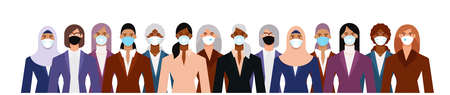 Crowd of diverse business woman wearing face mask to protect themselves from the epidemic. Flat design vector illustration. 矢量图像