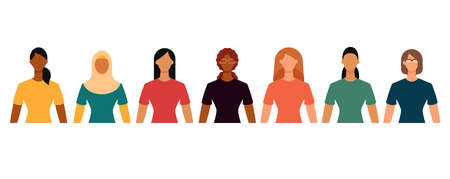 Group of diverse female students in casual clothes. Minimal faceless characters icon. Flat design vector illustration isolated on white. 矢量图像
