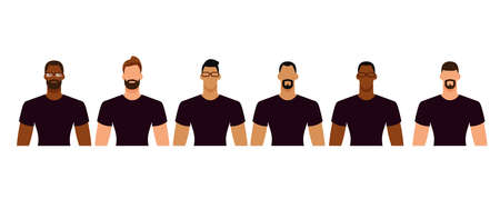 Group of diverse men in casual clothes. Minimal faceless characters icon. Flat design vector illustration isolated on white.