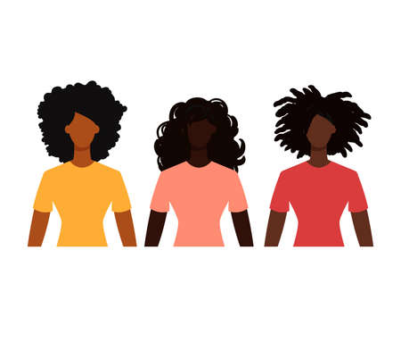 Group of black female students in casual clothes. Minimal faceless characters icon. Flat design vector illustration isolated on white. 矢量图像