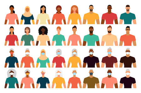 Diverse people in protective face masks during the epidemic. Isolated icon set. Social distance, quarantine concept. Flat design vector illustration.