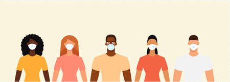 Diverse people crowd in protective face masks during the epidemic. Social distance, quarantine concept. Flat design vector illustration.