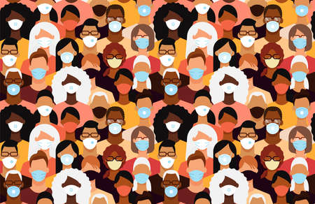 Diverse people crowd in face masks during the epidemic. Seamless tile pattern. Flat design vector illustration.