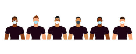 Diverse men group in protective face masks during the epidemic. Social distance, quarantine concept. Flat design vector illustration.
