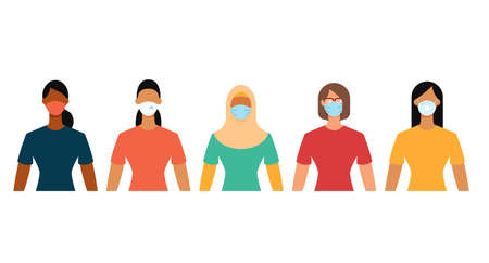 Diverse women group in protective face masks during the epidemic. Social distance, quarantine concept. Flat design vector illustration. 矢量图像