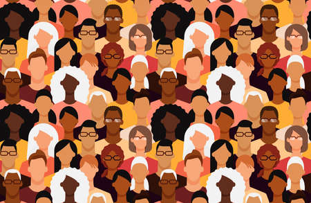 Diverse people seamless tile pattern. Minimal faceless characters. Flat design vector illustration.  イラスト・ベクター素材