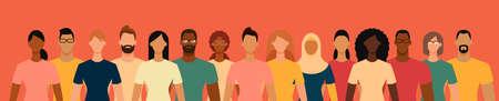 Diverse people group. Flat design vector illustration.  イラスト・ベクター素材