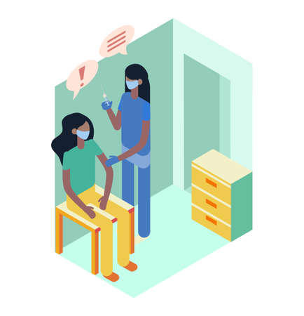 Nurse giving a patient injection. Vaccination isometric vector illustration.