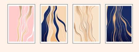 Luxury golden abstract wall art set. Golden, deep blue, light pink, sand color gradient. Illustration