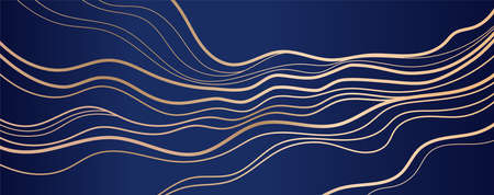 Golden curve line background. Wave abstract art.