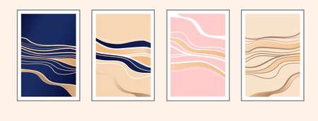 Luxury golden abstract wall art set. Golden, deep blue, light pink, sand color gradient.  イラスト・ベクター素材