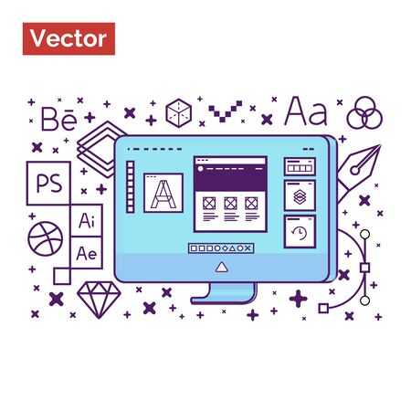 Graphic interface designer workspace and tools for create creative ideas for landing site