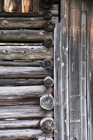 Wooden barns. Traditional agricultural buildings in the alpine region. Stock Photo