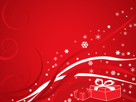felicitation: Christmas card with red background and gifts Stock Photo